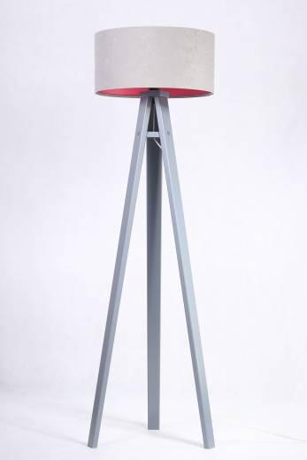 Standleuchte Grau Pink 140cm Holz Wohnzimmer Retro
