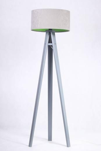 Stehlampe Holz Grau Grün 140cm Retro Wohnzimmer