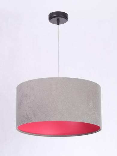 Hängelampe Schirm Grau Pink Stoff Retro Esszimmer
