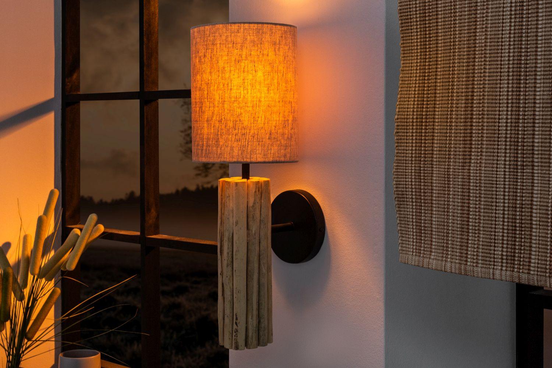 Design Wandlampe Treibholz Stoff Flur Wohnzimmer ATHELLA