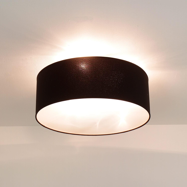 Runde Deckenlampe Stoff Ø50cm Braun blendarm