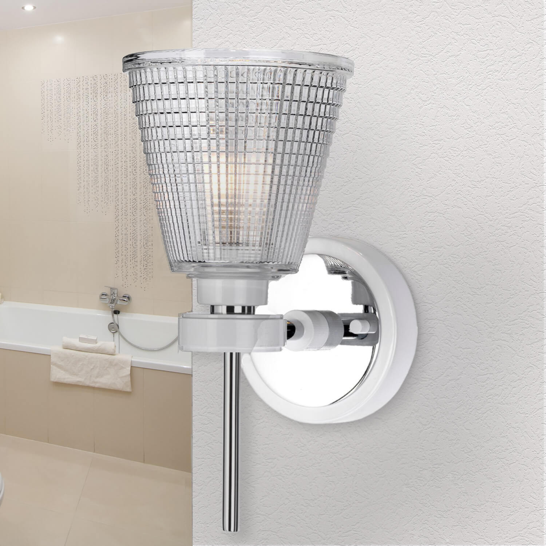 LED Lampe Badezimmer Glas IP44 Chrom Weiß verstellbar