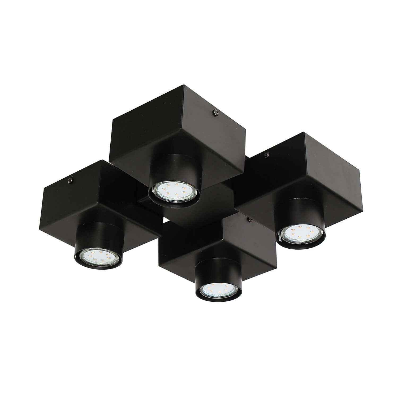 Moderne Deckenleuchte Schwarz Metall Design 4-flammig