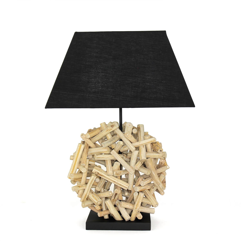 Dekorative Tischleuchte Treibholz Stoffschirm Handarbeit