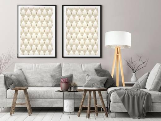Stehlampe Dreibein Holz Beleuchtung Weiß Beige