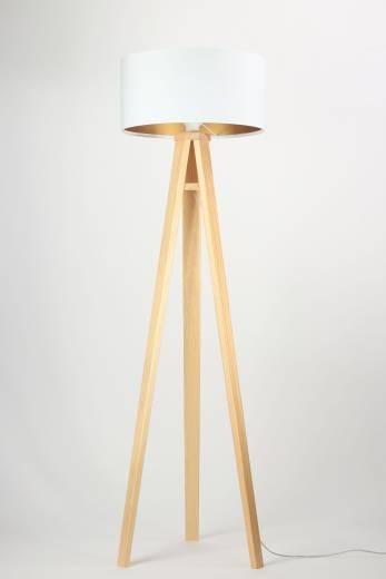 Stehlampe Weiß Gold Retro Dreibein 140cm Wohnzimmer