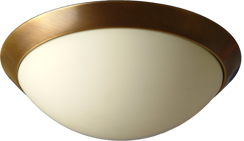 LED Deckenlampe mit Glasschirm Bauhaus in Messing