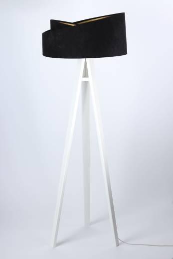 Dreifuß Stehlampe Holz Schwarz Gold Dreibein 145cm