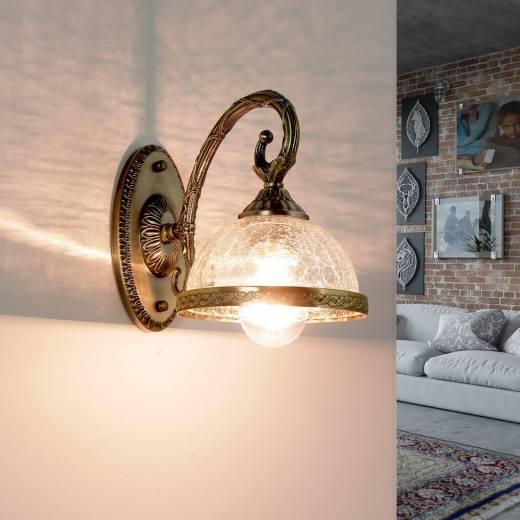 Wandlampe Metall Glas Jugendstil elegant CHARLES