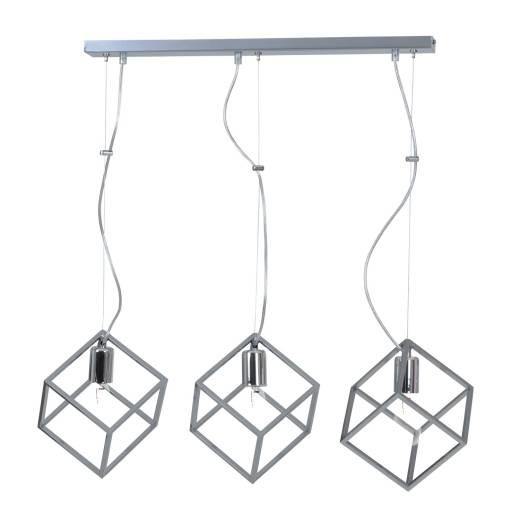 Hängelampe in Silber geometrisches Schirm Design