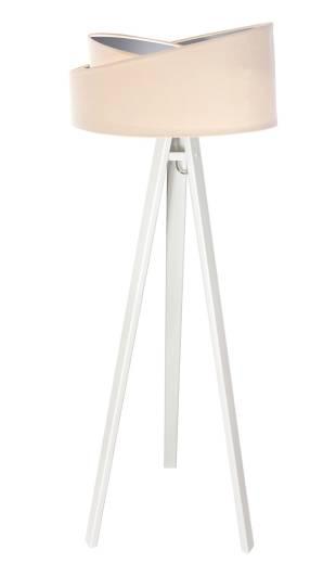Stehlampe Creme Silber Holz Dreibein 145cm Wohnzimmer