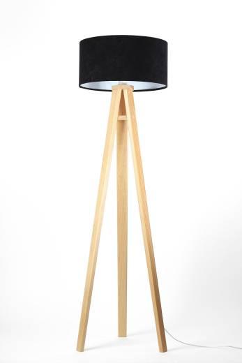 Stehlampe USAGI Schwarz Weiß Holz 140cm Dreibein Retro