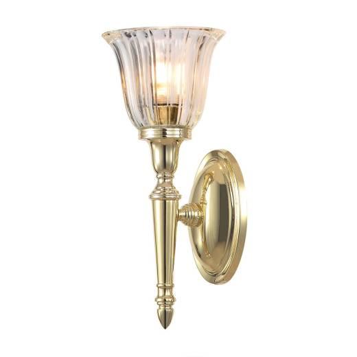 Badlampe LED aus Messing Riffelglas IP44 rostfrei