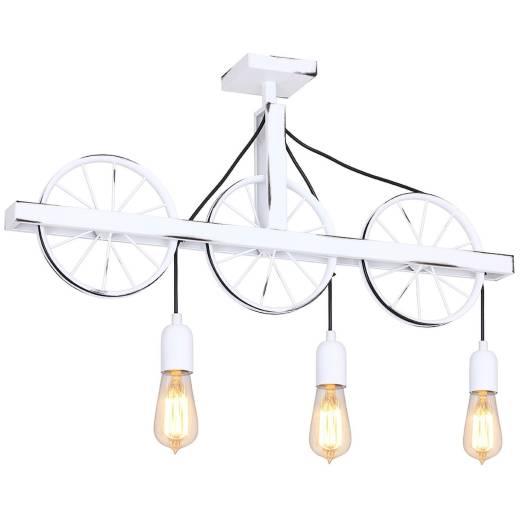 Weiße Deckenlampe Metall E27 Rustikal Wohnzimmer