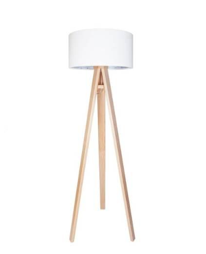 Stehlampe Weiß Blau Holz 140cm Retro Wohnzimmer