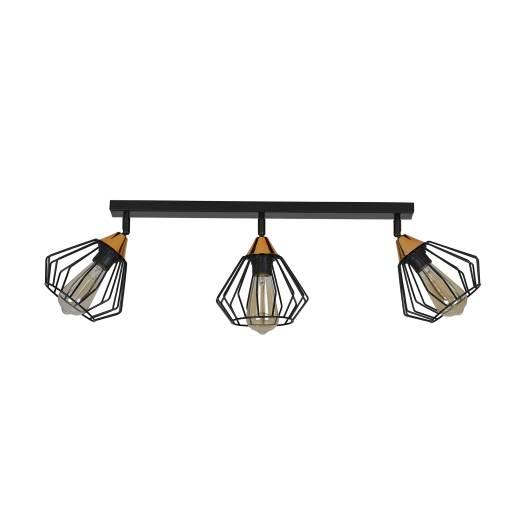Deckenlampe Käfig Schwarz Kupfer 3-flammig E27