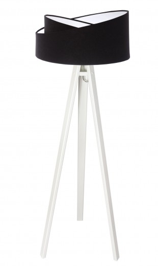 Dreifuß Stehlampe Holz Schwarz Weiß Dreibein 145cm