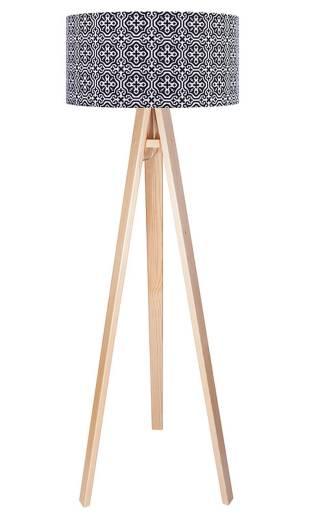 Stehlampe Retro Holz Braun Schwarz Stoff