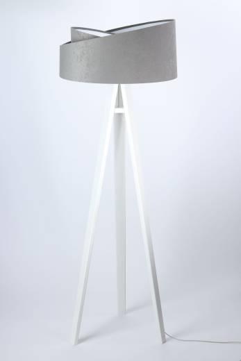 Grau Weiß Stehlampe Holz Dreibein 145cm Wohnzimmer