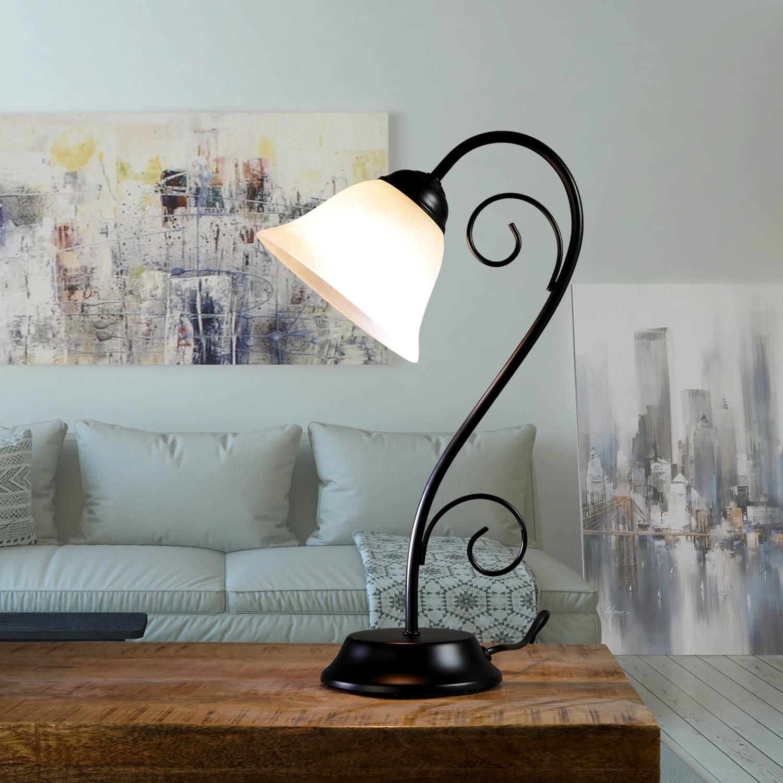 Rustikale Tischlampe Schwarz Alabaster H:43cm ATHEN