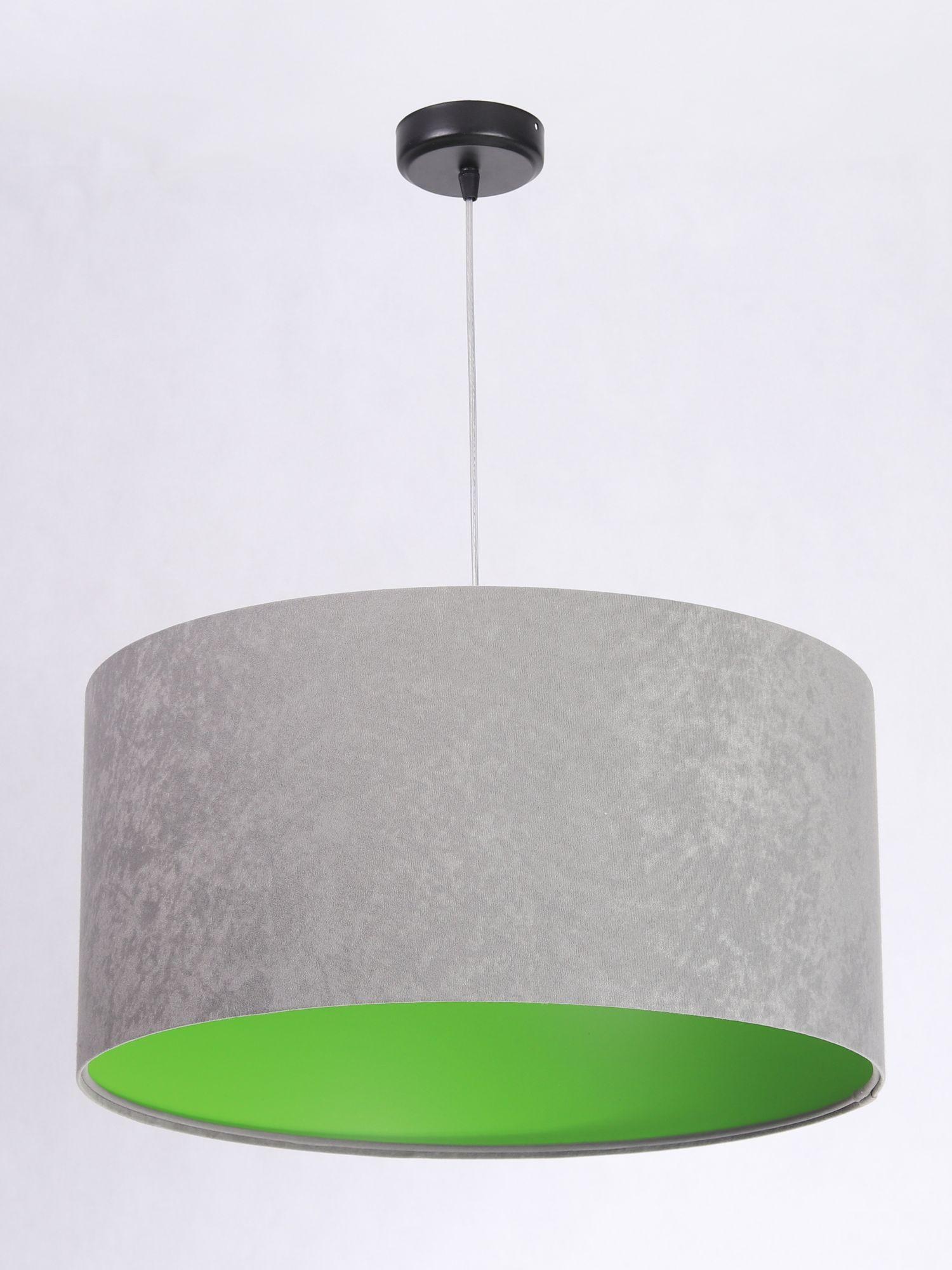 Hängeleuchte Retro Grau Grün Stoff rund Esszimmer
