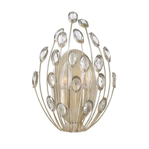 Vintage Wandleuchte AZARA Blattsilber B:23cm Lampe