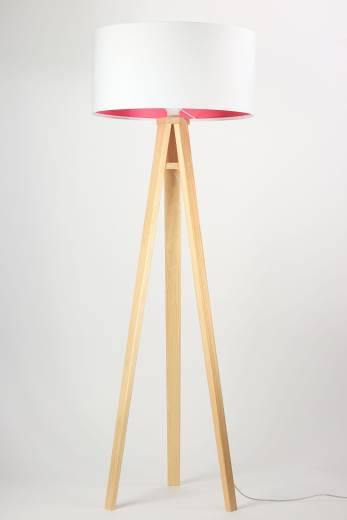 Stehlampe Weiß Pink Holz 145cm Retro Wohnzimmer
