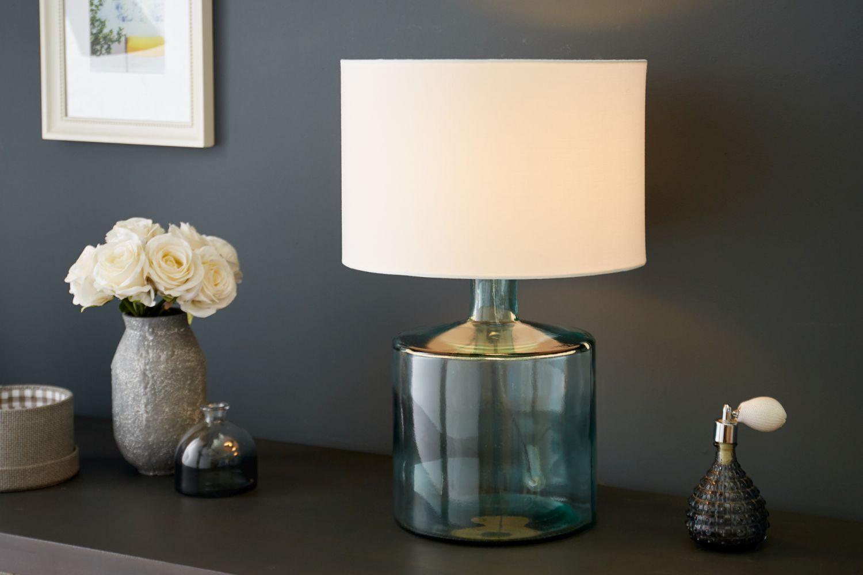 Elegante Tischleuchte AQUAMENTI Blau Weiß Glas Stoff