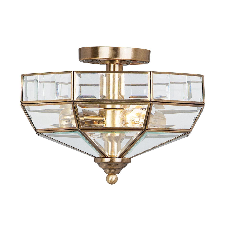 Deckenleuchte HESU Antik Messing Ø32cm 2xE27 Lampe