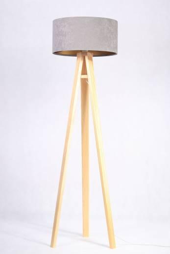 Stehlampe Holzleuchte Grau Gold Wohnzimmer Dreibein