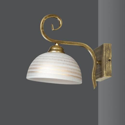 Wandleuchte Gold Antik Weiß Metall Glas Schirm E27