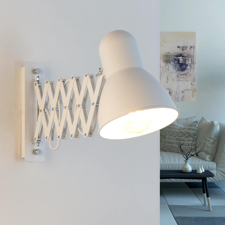 Verstellbare Wandlampe Weiß mit Auszug HARMONY