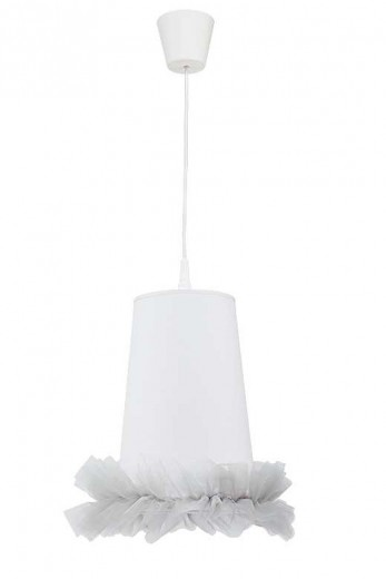 Kinderlampe Weiß Grau Stoff Tutu Schirm BALLETT