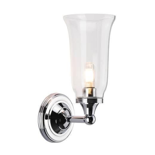 LED Badlampe Messing massiv Glas in Chrom IP44