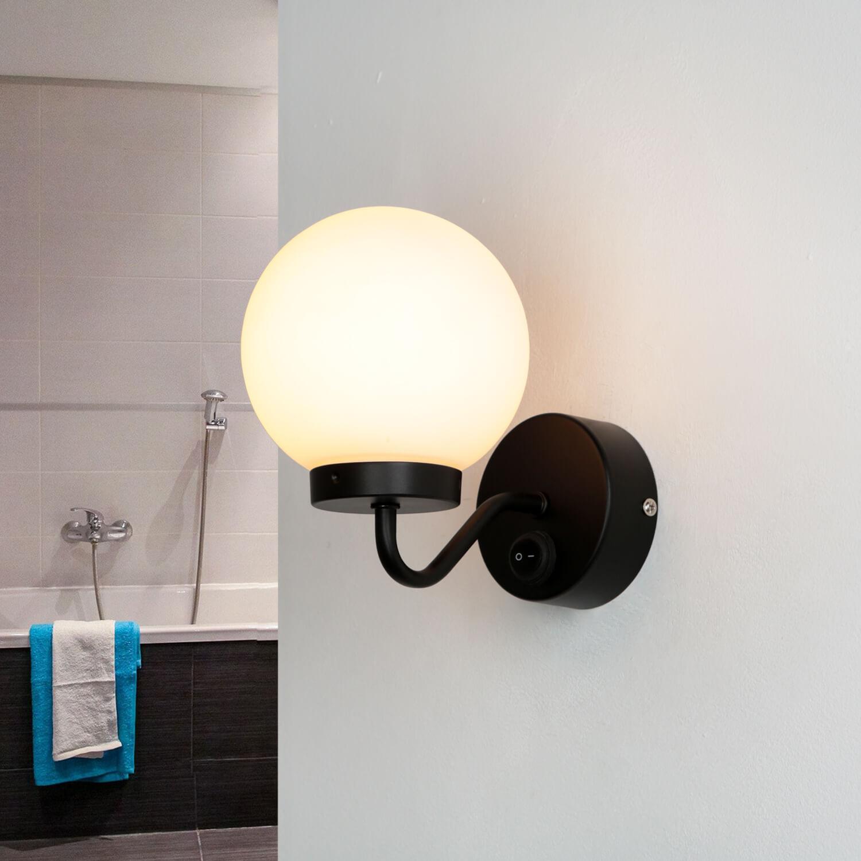 Badlampe Wand IP44 Schwarz Weiß Glasschirm TOHO