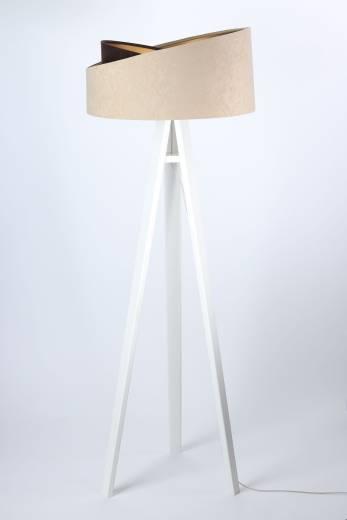 Stehlampe Dreibein Holz Beige Gold rund 145cm