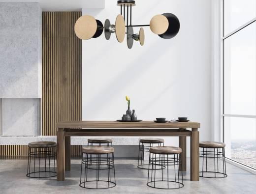 Design Deckenlampe XXL Schwarz Metall Holz 4x E27