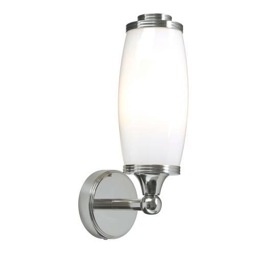 Badleuchte mit LED aus Messing Glas IP44 in Chrom