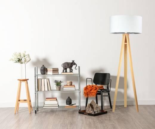 Stehlampe Farbig Weiß Retro Dreibein 145cm Wohnzimmer