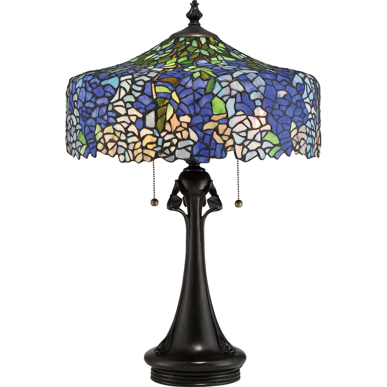 Imposante Tischlampe Tiffany Stil Zugschalter 69cm