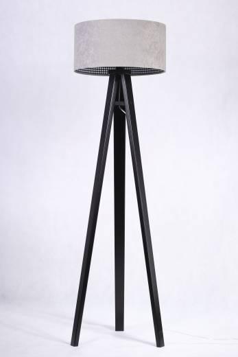 Stehlampe Schwarzer Schirm Grau Retro Dreibein