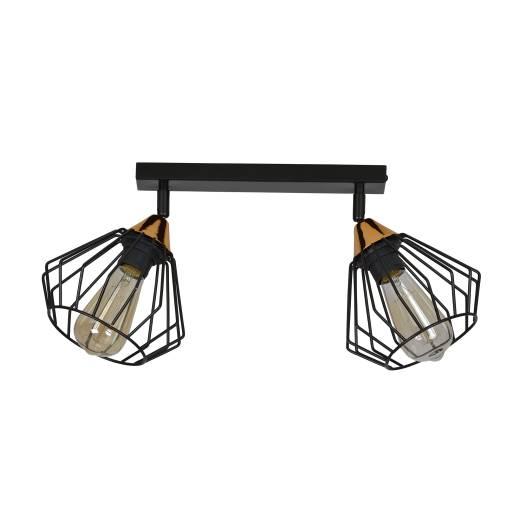 Käfiglampe Decke Schwarz Kupfer Metall 2-flammig