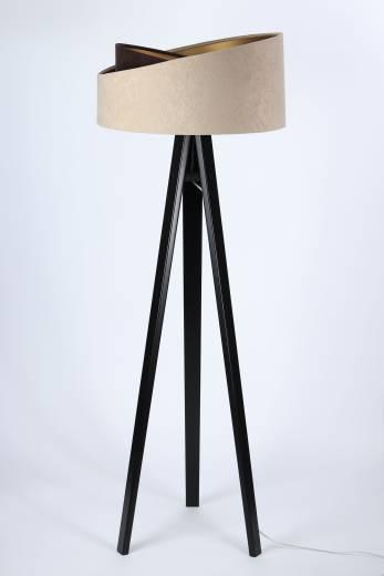 Stehleuchte Schirm Beige Gold Dreibein 145cm
