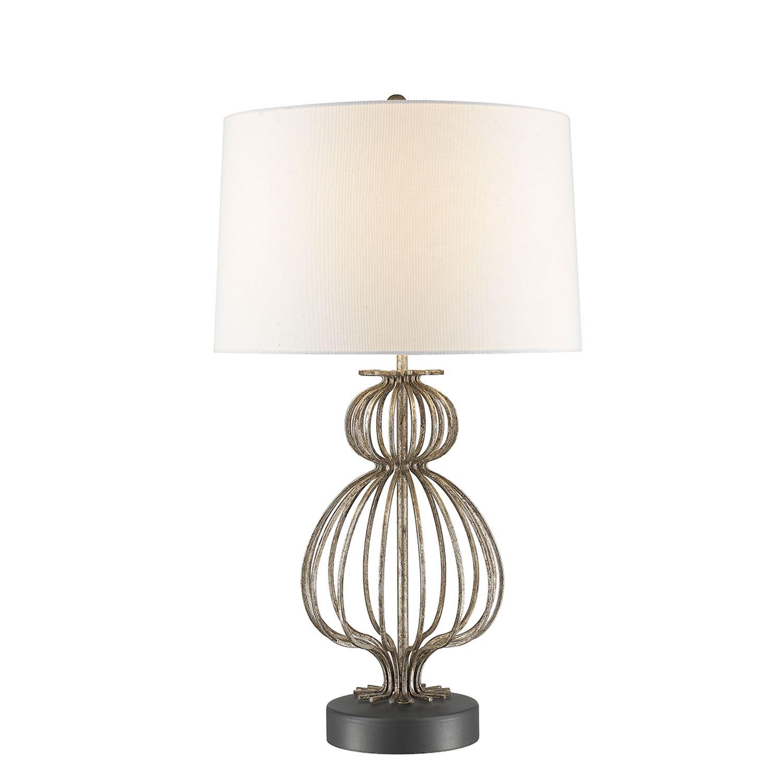 Tischleuchte GOBLET Weiß Silber Ø41cm H:70cm Lampe
