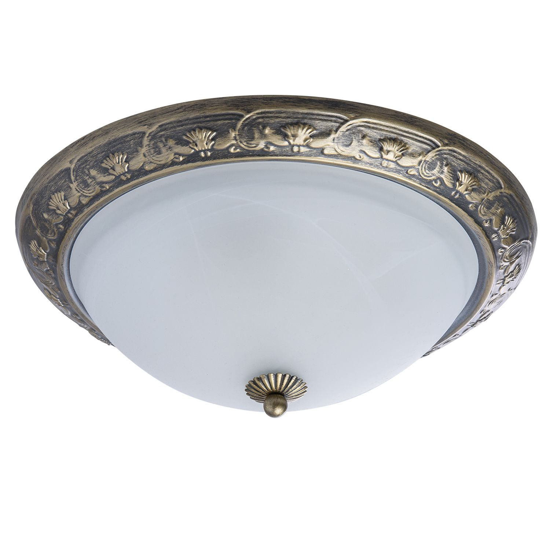 Deckenlampe in Messing Antik Weiß Alabaster Glas