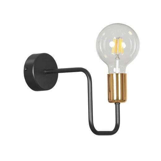 Schwarze Wandlampe Metall Retro Schwarz Kupfer E27