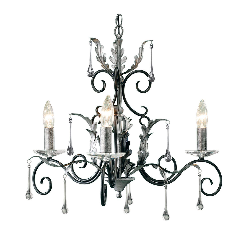 Design Kronleuchter Schwarz Silber Höhe verstellbar