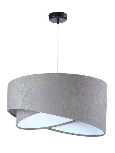 Pendelleuchte Esstisch Grau Weiß Stoff Lampe