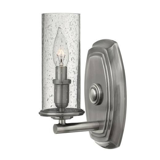 Wandlampe Vintage Design Regelglas in Nickel antik