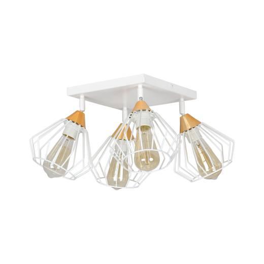 Deckenlampe Draht Käfig Weiß Kupfer 4-flammig E27